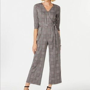 NY Collection 3/4 Sleeve Plaid Jumpsuit Petite XL